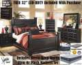 FREE 32' LED HDTV W/11PC Bedroom Set Featuring Mansion Poster Bed & Qn 13