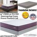 "Limited Edition 13"" Choice Of FirmOrPlush Innerspring FoamEncased PwrPkd Coil Tw Mattress+Foundation"