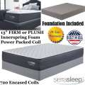 "Limited Edition 13"" Choice Of FirmOrPlush Innerspring FoamEncased PwrPkd Coil Qn Mattress+Foundation"