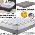 "Mt Dana 17"" EuroTop Innerspring Foam Encased PwrPkd Coil Fl Mattress+Foundation;Perfect For Cradling"