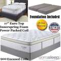 "Mt Dana 17"" EuroTop Innerspring Foam Encased PwrPkd Coil Kg Mattress+Foundation;Perfect For Cradling"