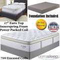 "Mt Dana 17"" EuroTop Innerspring Foam Encased PwrPkd Coil Qn Mattress+Foundation;Perfect For Cradling"