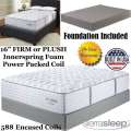 "Mount Dana 16"" Choice Of Firm Or Plush Innerspring FoamEncased PwrPkd Coil Fl Mattress+Foundation"
