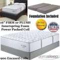 "Mount Dana 16"" Choice Of Firm Or Plush Innerspring FoamEncased PwrPkd Coil Kg Mattress+Foundation"