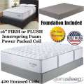 "Mount Dana 16"" Choice Of Firm Or Plush Innerspring FoamEncased PwrPkd Coil Tw Mattress+Foundation"