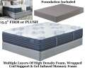 "Mount Dana 15.5"" Choice Of Firm Or Plush Innerspring Foam Encased PwrPkd Coil Tw Mattress+Foundation"