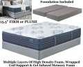 "Mount Dana 15.5"" Choice Of Firm Or Plush Innerspring Foam Encased PwrPkd Coil Kg Mattress+Foundation"