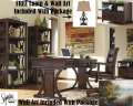 FREE Lamp & Wall Art With This 5PC HomeOffice Pkg Featuring Dual Bookcases For Ample Storage Space