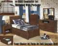 Brown Finish W/Rustic Woody Feel 5PC Youth Pkg Offering Tw Or Fl Storage Bed & FREE Comforter Set