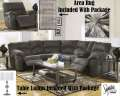 Bundle Up & Save W/Modern Design 9PC Pkg Featuring Reclining Sectional, Tables, Lamps, Rug & WallArt