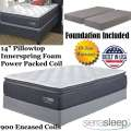 "Limited Edition 14"" Pillow Top Innerspring Foam Encased Power Packed Coil King Mattress + Foundation"