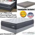 "Limited Edition 14"" Pillow Top Innerspring Foam Encased Power Packed Coil Twin Mattress + Foundation"
