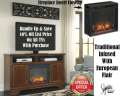 Traditional Infused W/European Flair Elec Fireplace Featuring Ample Storage & Realistic Wood Burning