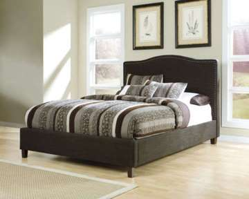 Sleek Contemporary Upholstered Bed Complete W/Qn 15.5