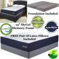 "FREE Pair Of Latex Pillows W/MyGel 13"" GelMemFoam Kg Mattress+Foundation;Exceptional Comfort&Support"