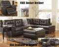 FREE Rocker Recliner w/3-PC Chocolate Living Room Bundle Featuring Plush Sectional & Ottoman