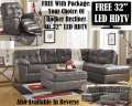 Choice Of FREE Rocker Recliner Or 32� LED HDTV W/Gray Blended Leather Sectional + Oversized Ottoman