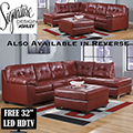 Choice Of FREE Rocker Recliner Or 32� LED HDTV W/Salsa Blended Leather Sectional + Oversized Ottoman