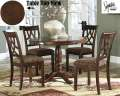 Rich Brown Cherry Finish 5Piece Dinette Featuring Elegant Design With Stylishly Turned Pedestal Base