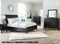 Your Choice 5-Drawer Chest or 2-Nightstands w/this Crisp Black Modern Design 6 or 7 PC Bedroom Pkg