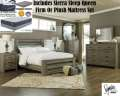 Bundle Up & Save W/This Warm Gray Vintage 8PC Qn Bedroom Set + Choice Of Firm Or Plush Mattress Set