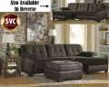 Clean Two-Tone Chocolate Sectional Plus Ottoman Featuring Soft Plush Upholstery At A Great Value
