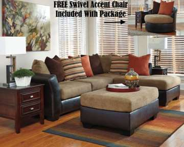 FREE Round Swivel Chair W/This Complete Two-Tone Sectional Plus Accent Ottoman, Tables, Lamps & Rug