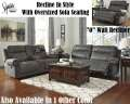 Clean Contemporary Gray 3PC Package W/Oversized 2-Seat Reclining Sofa & Decorative Nail Head Accents
