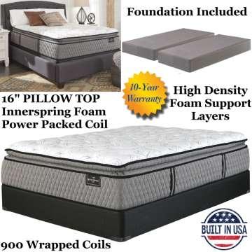 """MtRogersLtd 16"""" PillowTop Innerspring Foam Encased PwrPkdCoil Kg Mattress+Foundation; LuxuriousSleep"""