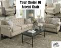 Natural 3PC Upholstery Package Featuring Button Tufted Nailhead Accents & Accent Chair