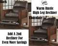 Rustic Hi-Leg Recliner In Choice Of Chocolate Or Bark W/A Plush Bustle Back Design & Mission Styling