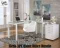 Sleek Contemporary 3PC Home Office Bundle Featuring L-Shaped Desk With Matching Chair & File Cabinet