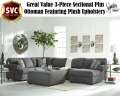Great Value 3-Piece Sectional Plus Ottoman Featuring Plush Steel Gray Upholstery