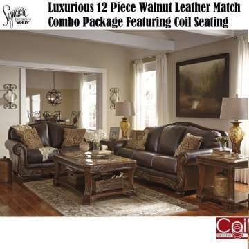 Luxurious 11-PC Walnut Leather Match Package; Pocketed Coil Seating; Tables, Lamps, Rug & More