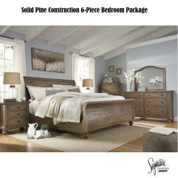 Quality Pine Solid Construction in a Light Weathered Gray with Rough Textured Finish 6-PC Package