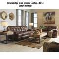 Premium Top Grain Genuine Leather 4-PC Combo Package; Button Tufted Seats & Great Matching Tables