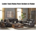 Magnificent Leather Match With Touch Motion Power Recliners All Around In Beautiful Walnut