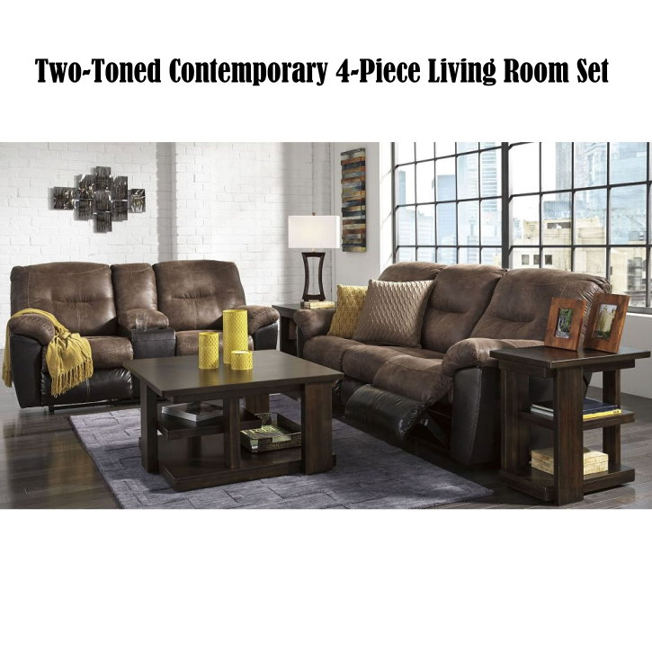 Two Toned 4pc Overstuffed Reclining Sofa Loveseat Set With 2 Cup