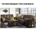Two-Toned 4PC Overstuffed Reclining Sofa & Loveseat Set with  2 Cup Holders, Powerstrip & USB Ports