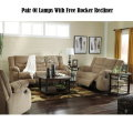 Free Rocker Recliner w/7-PC Reclining Living Room Package Featuring A Soft Chenille Fabric in Mocha
