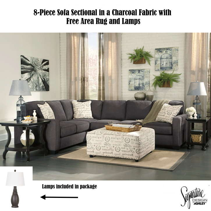 Free Area Rug Lamps W This 8 Piece Sectional In A Charcoal