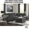 Maximum Comfort & Style 4-Piece Upholstery Pkge In Graphite Upholstery w/Matching Recliner & Ottoman
