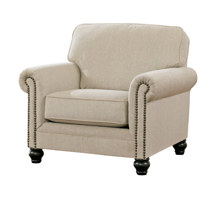 Superb Vintage Casual Design In A Light Upholstery Featuring Nail Pabps2019 Chair Design Images Pabps2019Com