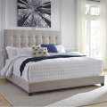 Contemporary Beige Queen Upholstered Panel Bed With Button Tufted Headboard - Ships Express