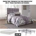 "Amazing Value; Contemporary Gray Queen Upholstered Bed With 12"" Memory Foam Mattress & Foundation"