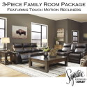 Chic Contemporary Design 3-Piece Family Room Package Featuring Touch Motion Recliners in Chocolate