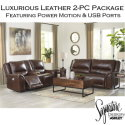 Luxurious Top Grain Genuine Leather Match 2-Piece Package in Mahogany featuring USB Ports