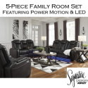 Bundle Up & Save with this 5-PC Family Room Package Featuring LED & Touch Motion Recline in Midnight