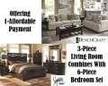 2-Great Rooms; 1-Great Price Featuring 3-Piece Living Room Combo Package + 6-Piece Queen Bedroom Set