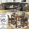 Ultimate Value Pkg Featuring Reclining Sectional, Cocktail & End Table + 5PC Counter Height Dinette